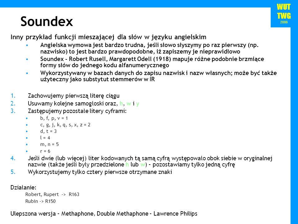 WUT TWG 2006 Soundex Inny przykład funkcji mieszającej dla słów w języku angielskim Angielska wymowa jest bardzo trudna, jeśli słowo słyszymy po raz p