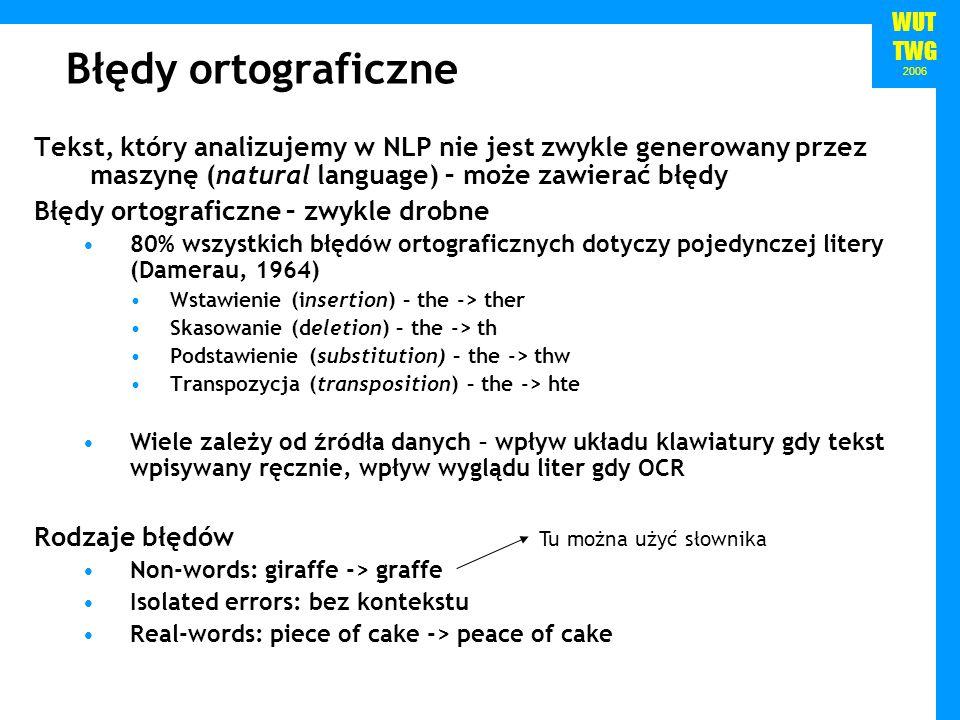 WUT TWG 2006 Błędy ortograficzne Tekst, który analizujemy w NLP nie jest zwykle generowany przez maszynę (natural language) – może zawierać błędy Błęd