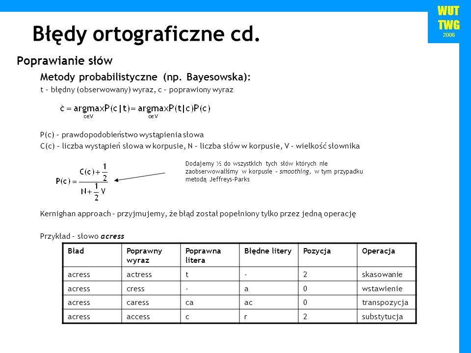 WUT TWG 2006 Błędy ortograficzne cd. Poprawianie słów Metody probabilistyczne (np. Bayesowska): t – błędny (obserwowany) wyraz, c – poprawiony wyraz P