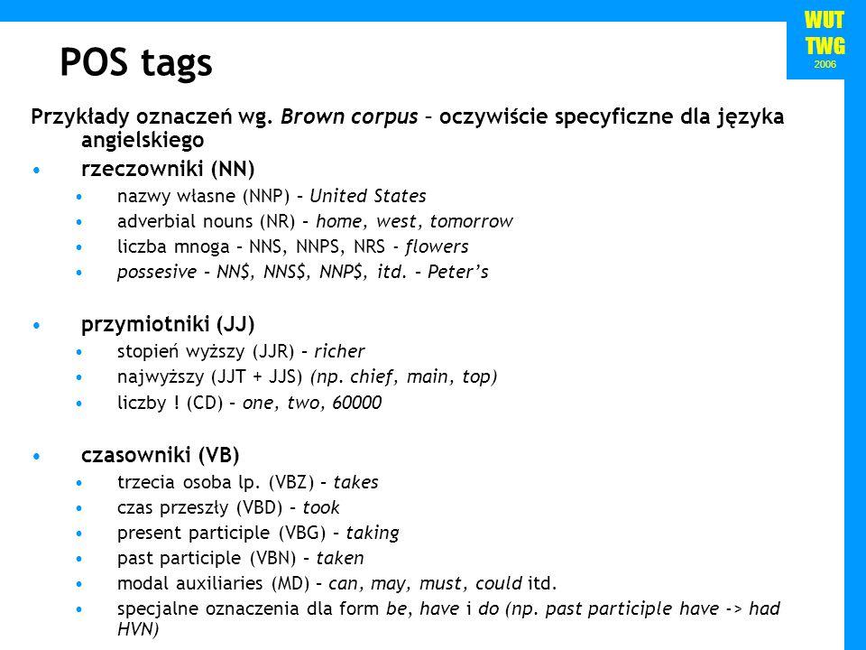 WUT TWG 2006 POS tags Przykłady oznaczeń wg. Brown corpus – oczywiście specyficzne dla języka angielskiego rzeczowniki (NN) nazwy własne (NNP) – Unite