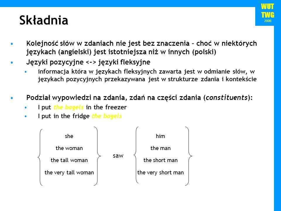 WUT TWG 2006 Składnia Kolejność słów w zdaniach nie jest bez znaczenia – choć w niektórych językach (angielski) jest istotniejsza niż w innych (polski
