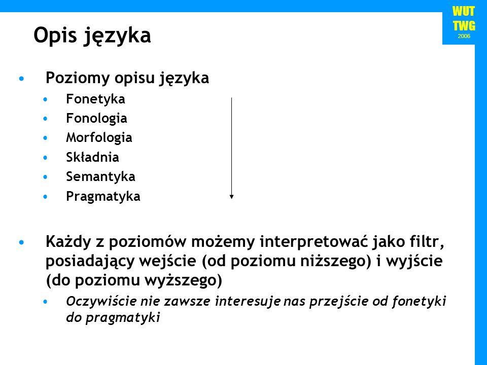 WUT TWG 2006 Opis języka Poziomy opisu języka Fonetyka Fonologia Morfologia Składnia Semantyka Pragmatyka Każdy z poziomów możemy interpretować jako f