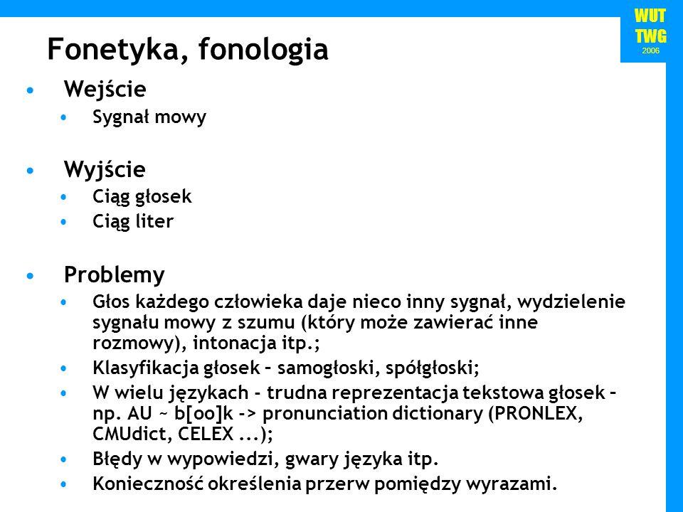 WUT TWG 2006 Fonetyka, fonologia Wejście Sygnał mowy Wyjście Ciąg głosek Ciąg liter Problemy Głos każdego człowieka daje nieco inny sygnał, wydzieleni