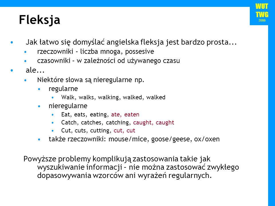 WUT TWG 2006 Fleksja Jak łatwo się domyślać angielska fleksja jest bardzo prosta... rzeczowniki – liczba mnoga, possesive czasowniki – w zależności od