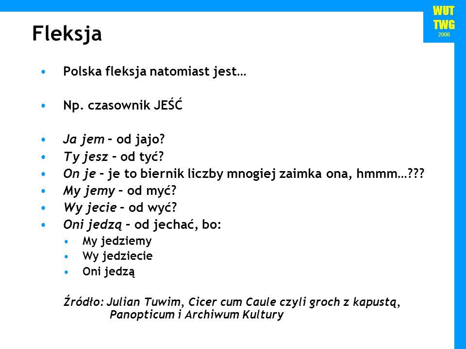 WUT TWG 2006 Fleksja Polska fleksja natomiast jest… Np. czasownik JEŚĆ Ja jem – od jajo? Ty jesz – od tyć? On je – je to biernik liczby mnogiej zaimka