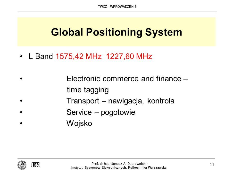TWCZ - WPROWADZENIE Prof. dr hab. Janusz A. Dobrowolski Instytut Systemów Elektronicznych, Politechnika Warszawska 11 Global Positioning System L Band