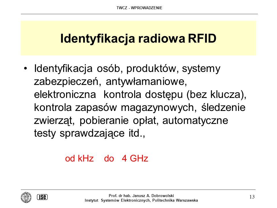 TWCZ - WPROWADZENIE Prof. dr hab. Janusz A. Dobrowolski Instytut Systemów Elektronicznych, Politechnika Warszawska 13 Identyfikacja radiowa RFID Ident