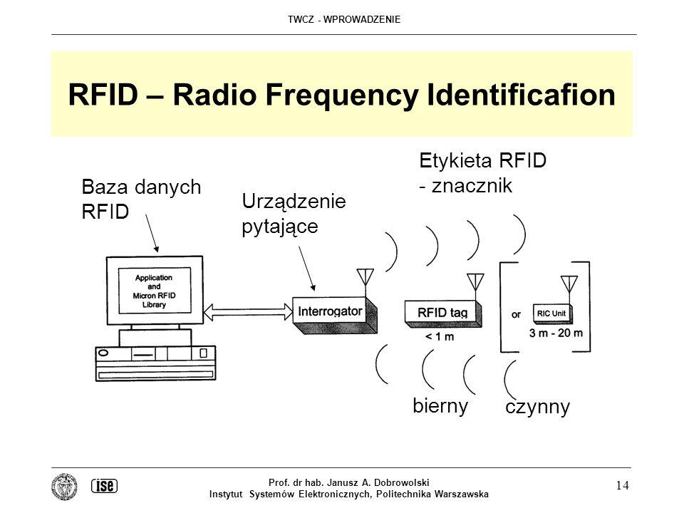 TWCZ - WPROWADZENIE Prof. dr hab. Janusz A. Dobrowolski Instytut Systemów Elektronicznych, Politechnika Warszawska 14 RFID – Radio Frequency Identific