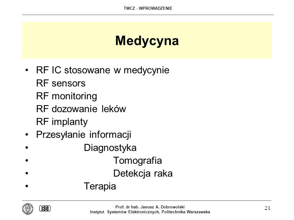 TWCZ - WPROWADZENIE Prof. dr hab. Janusz A. Dobrowolski Instytut Systemów Elektronicznych, Politechnika Warszawska 21 Medycyna RF IC stosowane w medyc