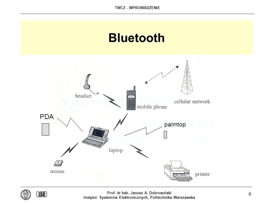 TWCZ - WPROWADZENIE Prof. dr hab. Janusz A. Dobrowolski Instytut Systemów Elektronicznych, Politechnika Warszawska 6 Bluetooth palmtop PDA