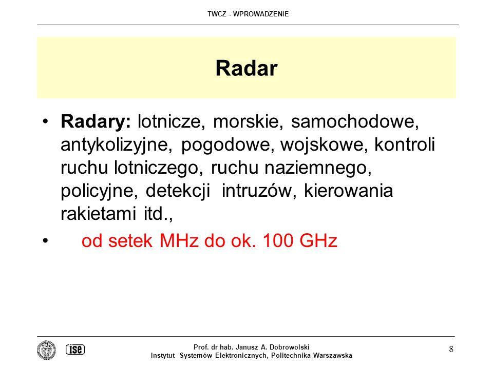 TWCZ - WPROWADZENIE Prof. dr hab. Janusz A. Dobrowolski Instytut Systemów Elektronicznych, Politechnika Warszawska 8 Radar Radary: lotnicze, morskie,
