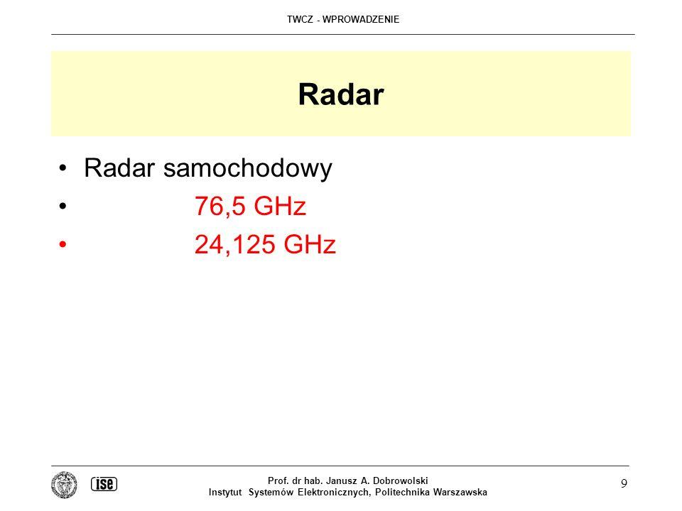 TWCZ - WPROWADZENIE Prof. dr hab. Janusz A. Dobrowolski Instytut Systemów Elektronicznych, Politechnika Warszawska 9 Radar Radar samochodowy 76,5 GHz