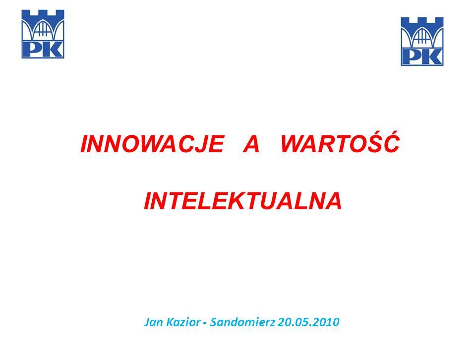 Jan Kazior - Sandomierz 20.05.2010 INNOWACJE A WARTOŚĆ INTELEKTUALNA