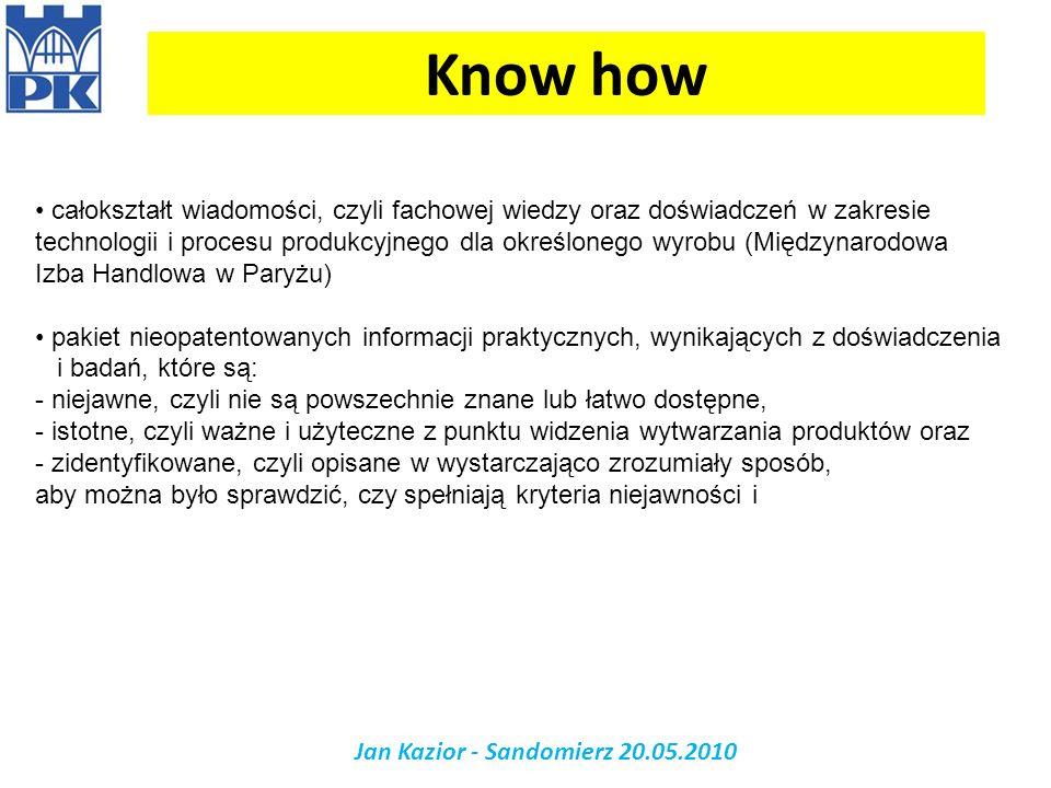Know how Jan Kazior - Sandomierz 20.05.2010 całokształt wiadomości, czyli fachowej wiedzy oraz doświadczeń w zakresie technologii i procesu produkcyjn