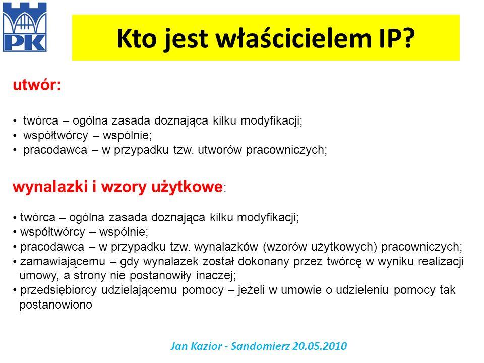 Kto jest właścicielem IP? Jan Kazior - Sandomierz 20.05.2010 utwór: twórca – ogólna zasada doznająca kilku modyfikacji; współtwórcy – wspólnie; pracod