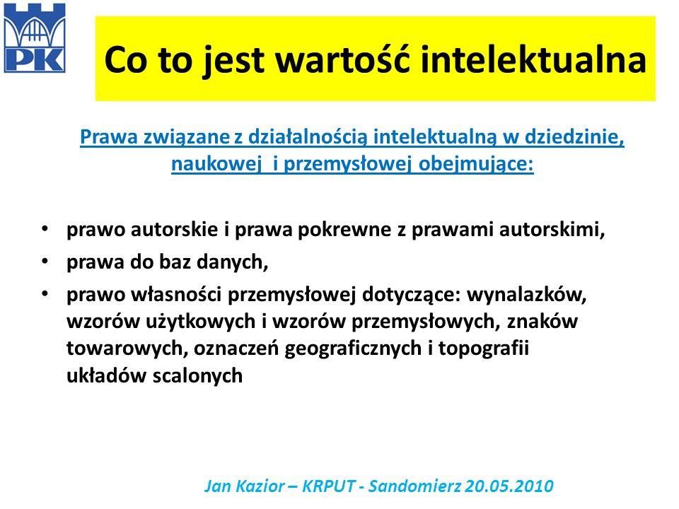 Własność intelektualna jako przedmiot umowy Jan Kazior - Sandomierz 20.05.2010 IP jako przedmiot obrotu gospodarczego IP musi być odpowiednio chronione: know – how – chronione stanem tajemnicy wynalazek – chroniony prawem z patentu wzór użytkowy – chroniony prawem ochronnym utwór – chroniony prawem autorskim.