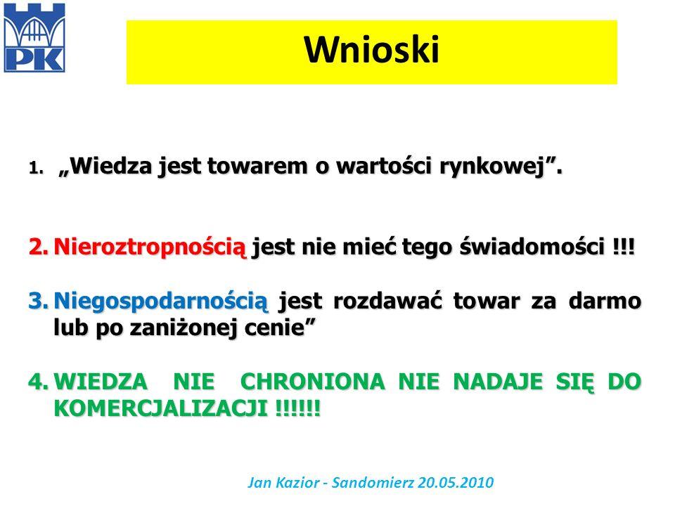 Jan Kazior - Sandomierz 20.05.2010 Wnioski 1. Wiedza jest towarem o wartości rynkowej. 2.Nieroztropnością jest nie mieć tego świadomości !!! 3.Niegosp