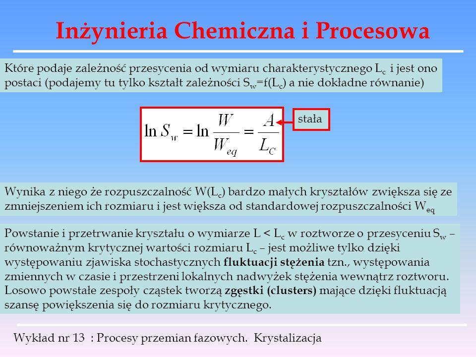 Inżynieria Chemiczna i Procesowa Wykład nr 13 : Procesy przemian fazowych. Krystalizacja Które podaje zależność przesycenia od wymiaru charakterystycz
