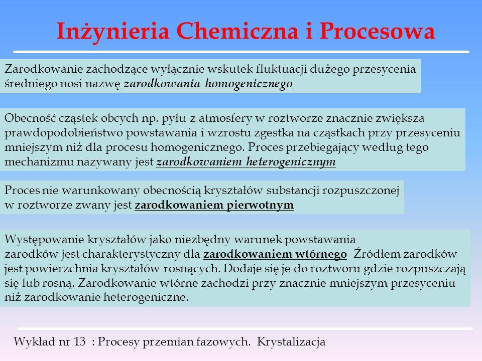 Inżynieria Chemiczna i Procesowa Wykład nr 13 : Procesy przemian fazowych. Krystalizacja Zarodkowanie zachodzące wyłącznie wskutek fluktuacji dużego p