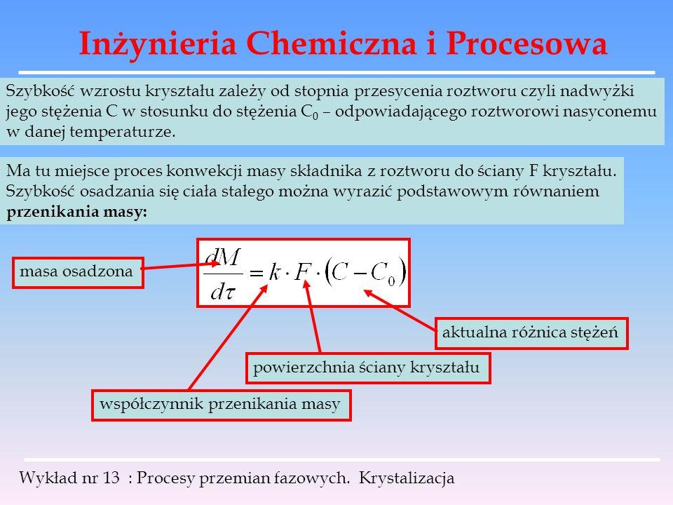 Inżynieria Chemiczna i Procesowa Wykład nr 13 : Procesy przemian fazowych. Krystalizacja Szybkość wzrostu kryształu zależy od stopnia przesycenia rozt