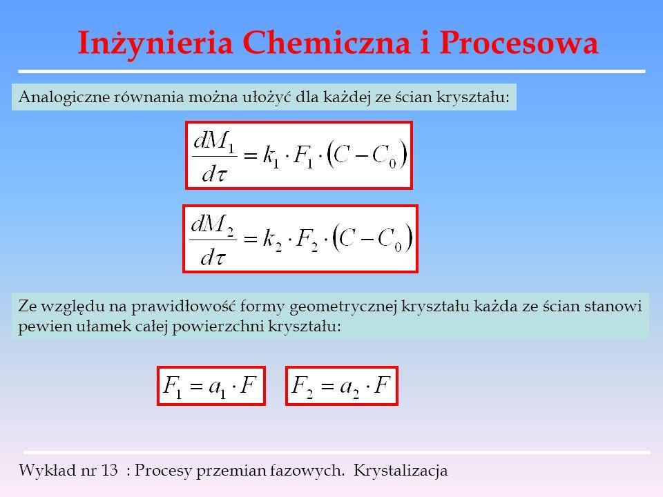 Inżynieria Chemiczna i Procesowa Wykład nr 13 : Procesy przemian fazowych. Krystalizacja Analogiczne równania można ułożyć dla każdej ze ścian kryszta