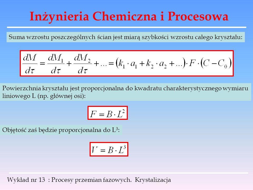Inżynieria Chemiczna i Procesowa Wykład nr 13 : Procesy przemian fazowych. Krystalizacja Suma wzrostu poszczególnych ścian jest miarą szybkości wzrost