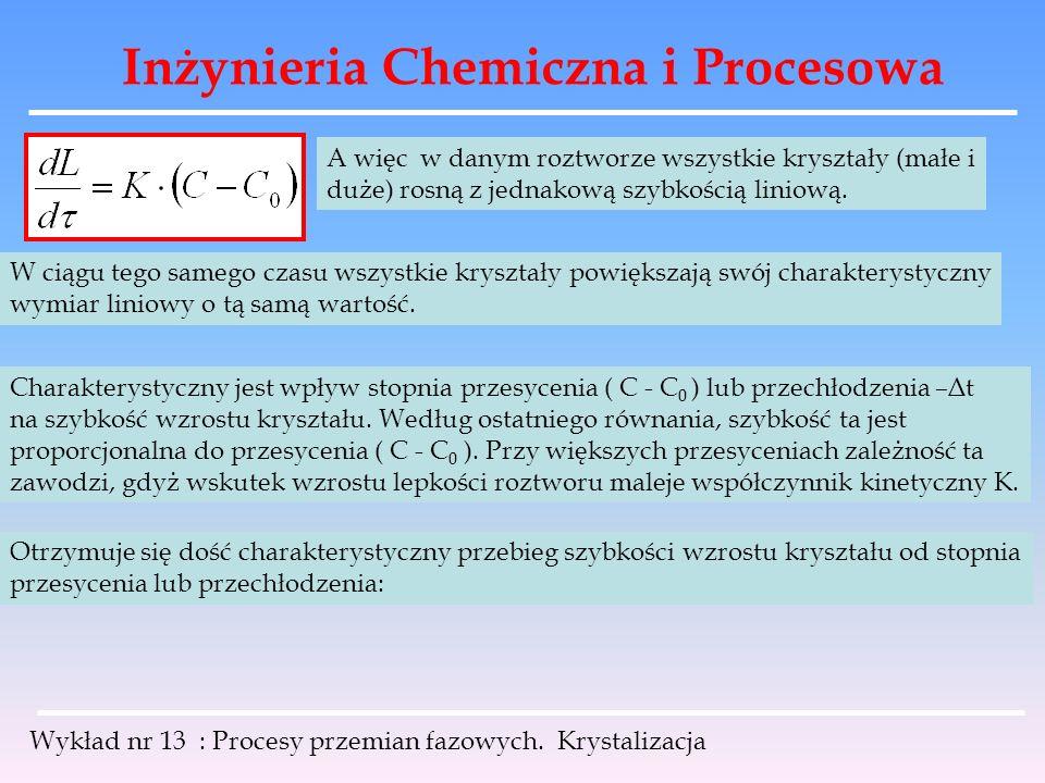 Inżynieria Chemiczna i Procesowa Wykład nr 13 : Procesy przemian fazowych. Krystalizacja A więc w danym roztworze wszystkie kryształy (małe i duże) ro