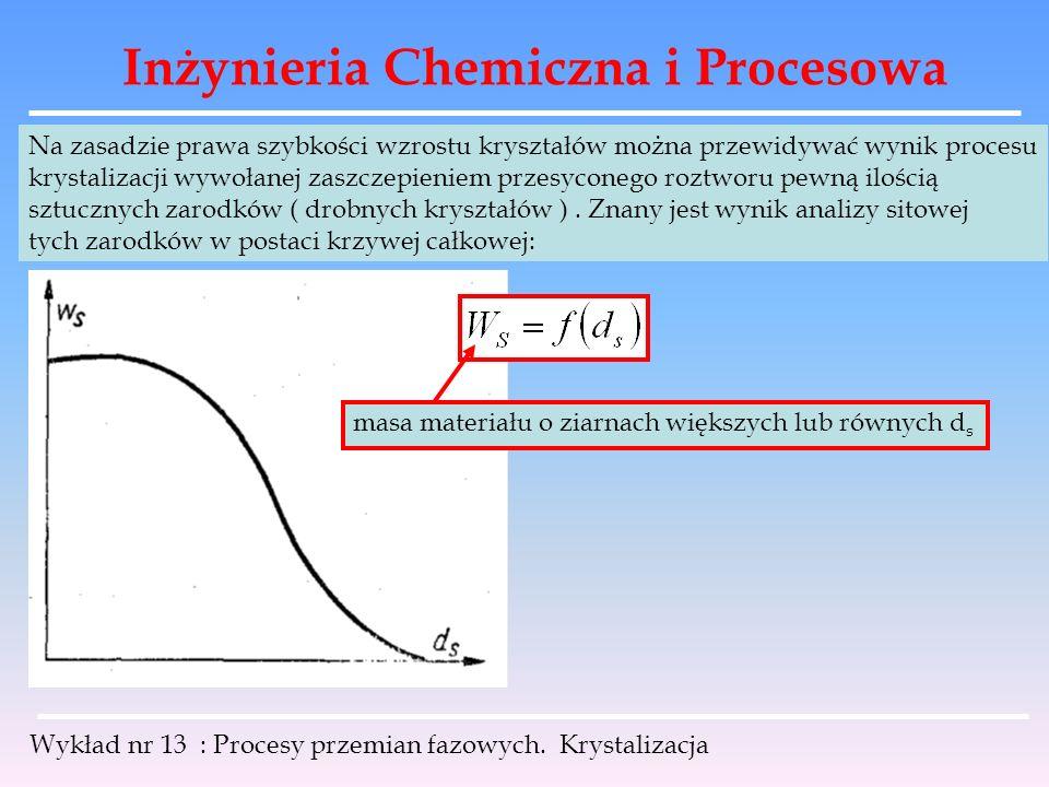 Inżynieria Chemiczna i Procesowa Wykład nr 13 : Procesy przemian fazowych. Krystalizacja Na zasadzie prawa szybkości wzrostu kryształów można przewidy