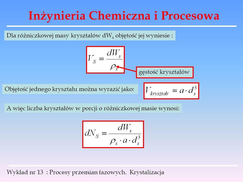 Inżynieria Chemiczna i Procesowa Wykład nr 13 : Procesy przemian fazowych. Krystalizacja Dla różniczkowej masy kryształów dW s objętość jej wyniesie :