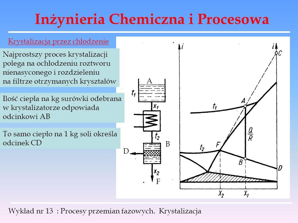 Inżynieria Chemiczna i Procesowa Wykład nr 13 : Procesy przemian fazowych. Krystalizacja Krystalizacja przez chłodzenie Najprostszy proces krystalizac