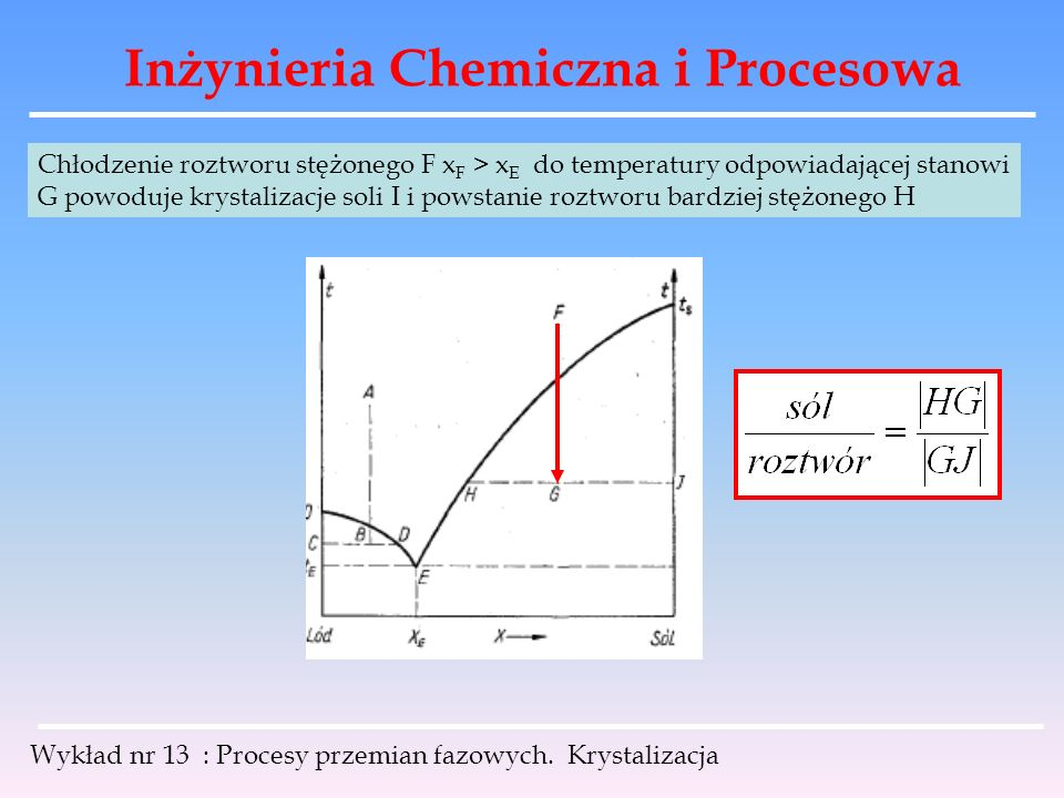 Inżynieria Chemiczna i Procesowa Wykład nr 13 : Procesy przemian fazowych. Krystalizacja Chłodzenie roztworu stężonego F x F > x E do temperatury odpo
