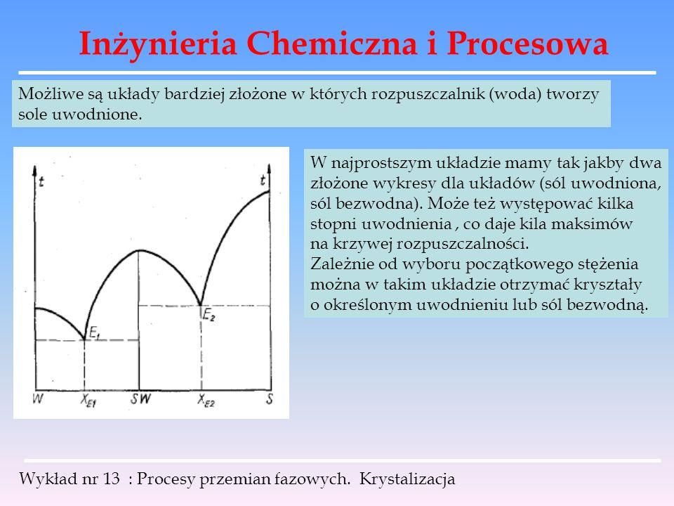 Inżynieria Chemiczna i Procesowa Wykład nr 13 : Procesy przemian fazowych. Krystalizacja Możliwe są układy bardziej złożone w których rozpuszczalnik (