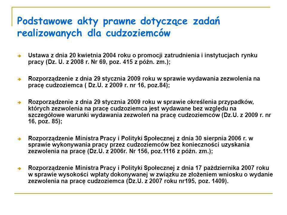 Podstawowe akty prawne dotyczące zadań realizowanych dla cudzoziemców Ustawa z dnia 20 kwietnia 2004 roku o promocji zatrudnienia i instytucjach rynku