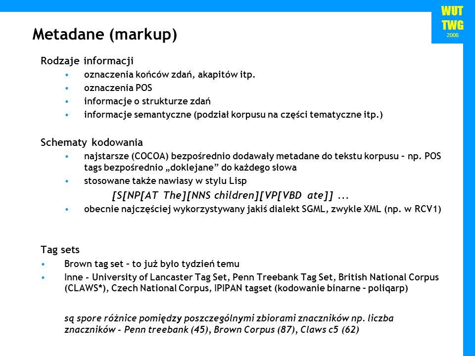 WUT TWG 2006 Metadane (markup) Rodzaje informacji oznaczenia końców zdań, akapitów itp. oznaczenia POS informacje o strukturze zdań informacje semanty