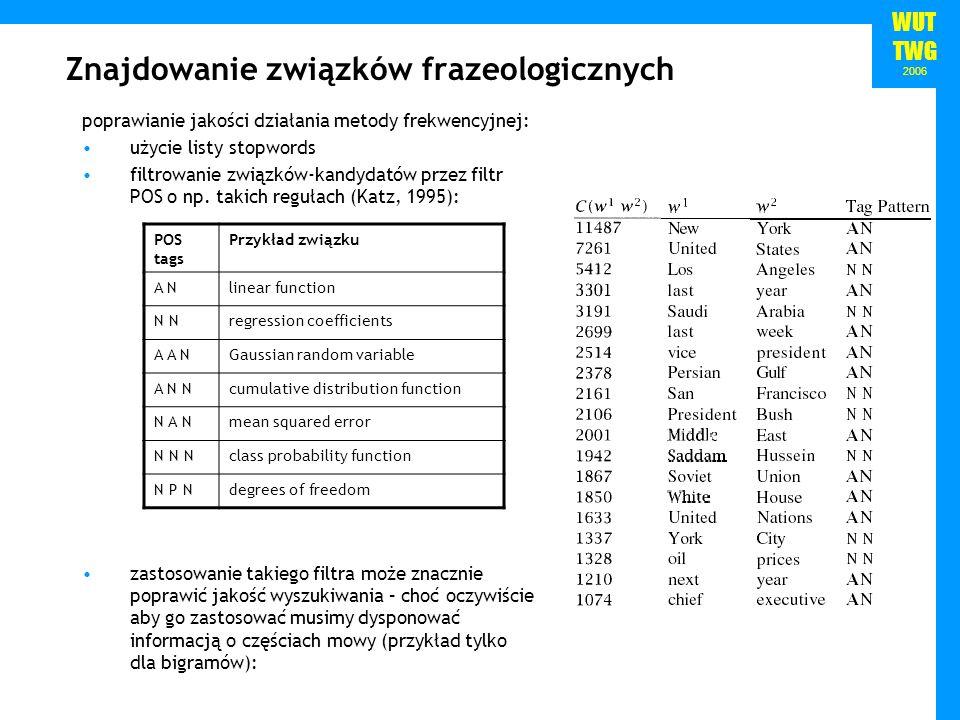 WUT TWG 2006 Znajdowanie związków frazeologicznych poprawianie jakości działania metody frekwencyjnej: użycie listy stopwords filtrowanie związków-kan