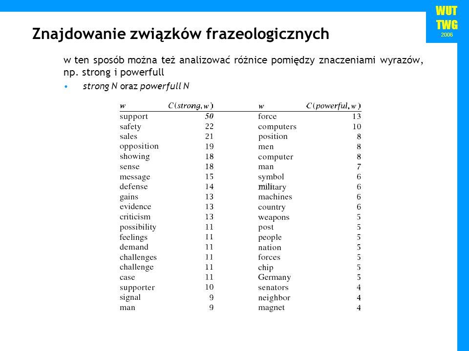 WUT TWG 2006 Znajdowanie związków frazeologicznych w ten sposób można też analizować różnice pomiędzy znaczeniami wyrazów, np. strong i powerfull stro