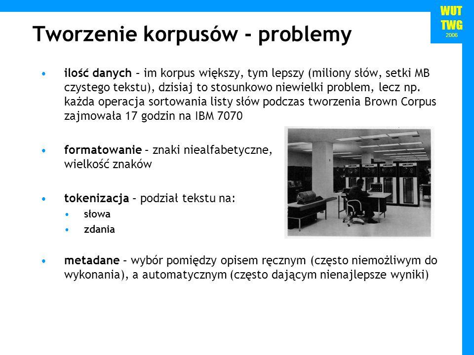 WUT TWG 2006 Tworzenie korpusów - problemy ilość danych – im korpus większy, tym lepszy (miliony słów, setki MB czystego tekstu), dzisiaj to stosunkow