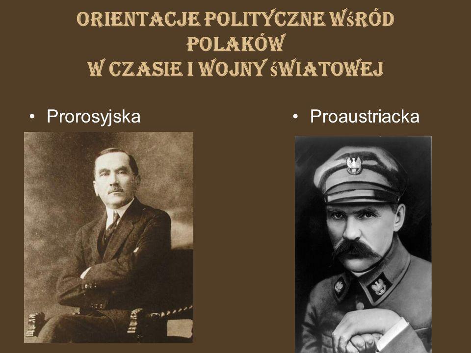 Orientacje polityczne w ś ród Polaków w czasie I wojny ś wiatowej ProrosyjskaProaustriacka