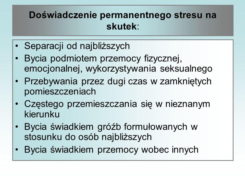 Doświadczenie permanentnego stresu na skutek: Separacji od najbliższych Bycia podmiotem przemocy fizycznej, emocjonalnej, wykorzystywania seksualnego