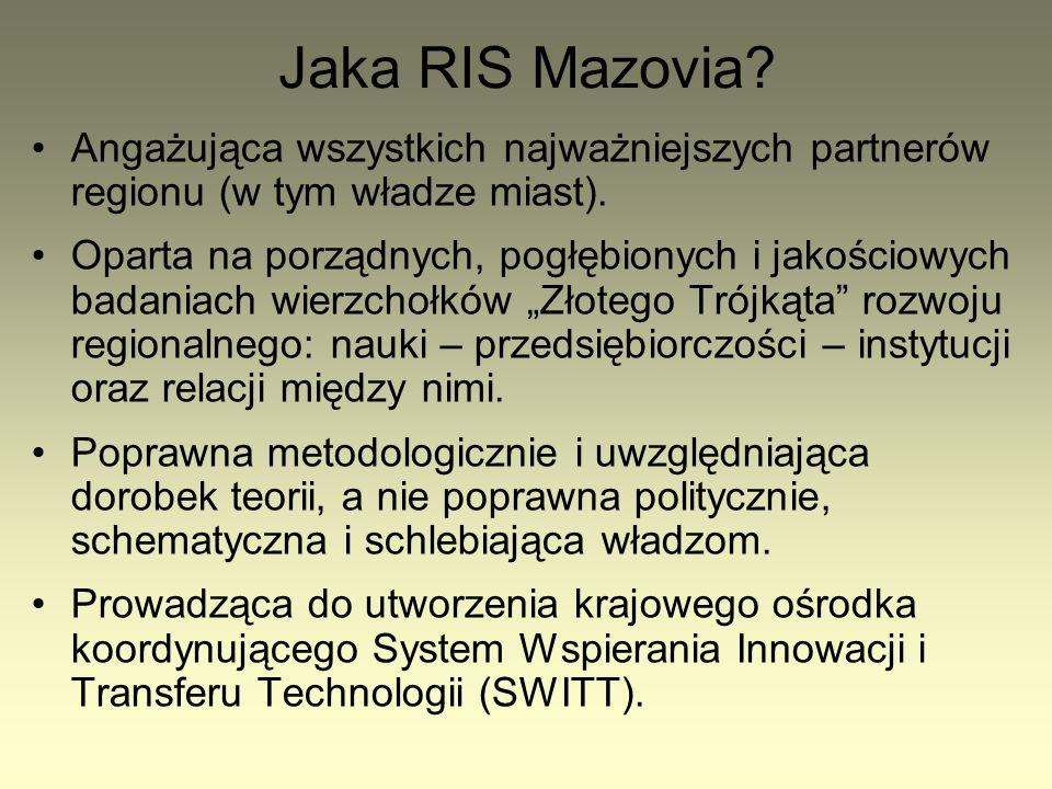 Jaka RIS Mazovia.Angażująca wszystkich najważniejszych partnerów regionu (w tym władze miast).