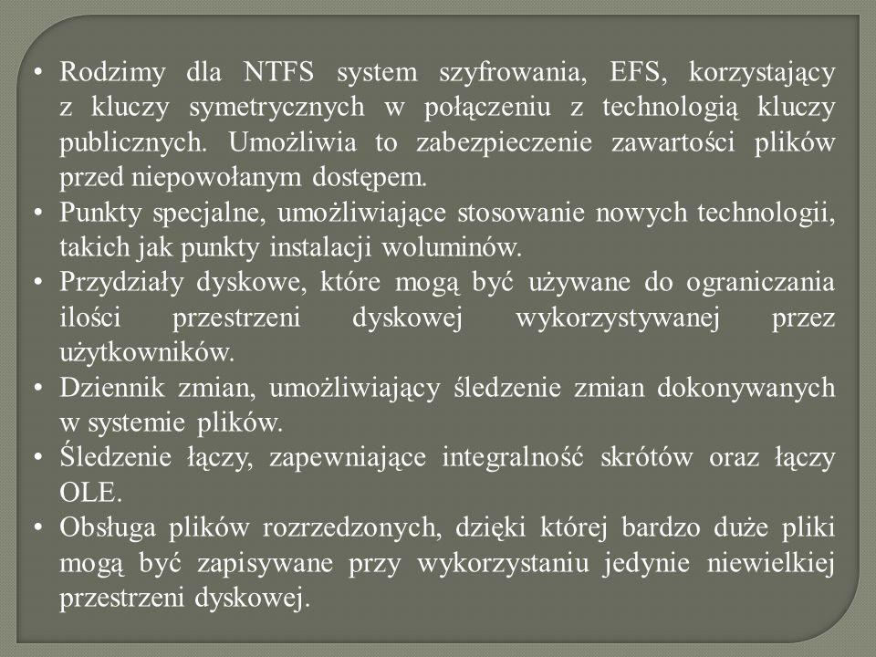 Rodzimy dla NTFS system szyfrowania, EFS, korzystający z kluczy symetrycznych w połączeniu z technologią kluczy publicznych. Umożliwia to zabezpieczen
