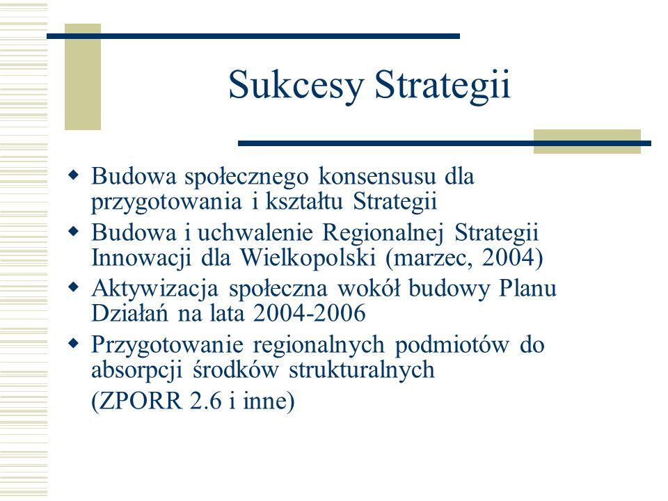 Sukcesy Strategii Budowa społecznego konsensusu dla przygotowania i kształtu Strategii Budowa i uchwalenie Regionalnej Strategii Innowacji dla Wielkop