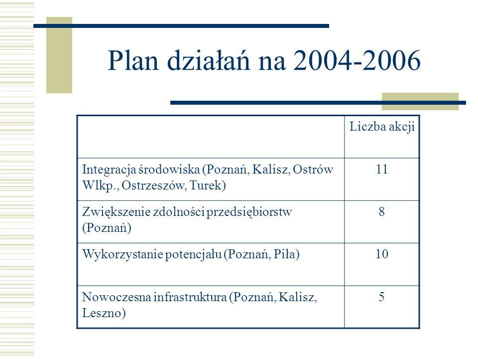 Plan działań na 2004-2006 Liczba akcji Integracja środowiska (Poznań, Kalisz, Ostrów Wlkp., Ostrzeszów, Turek) 11 Zwiększenie zdolności przedsiębiorst