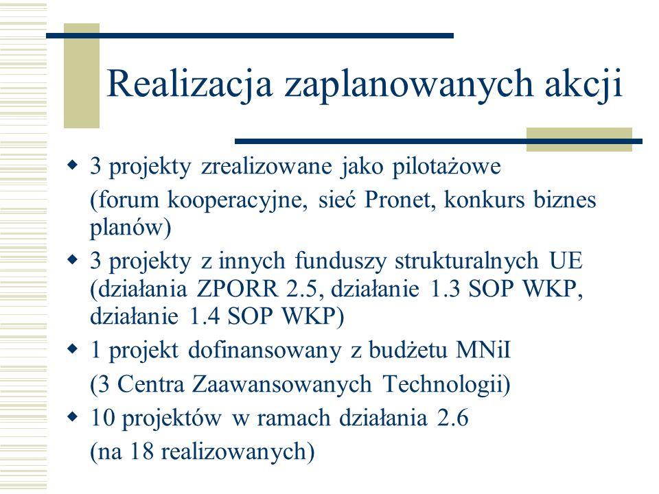 Realizacja zaplanowanych akcji 3 projekty zrealizowane jako pilotażowe (forum kooperacyjne, sieć Pronet, konkurs biznes planów) 3 projekty z innych fu