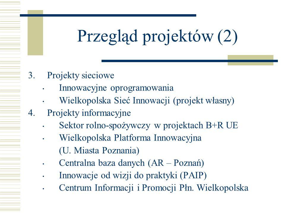 Przegląd projektów (2) 3.Projekty sieciowe Innowacyjne oprogramowania Wielkopolska Sieć Innowacji (projekt własny) 4.Projekty informacyjne Sektor roln