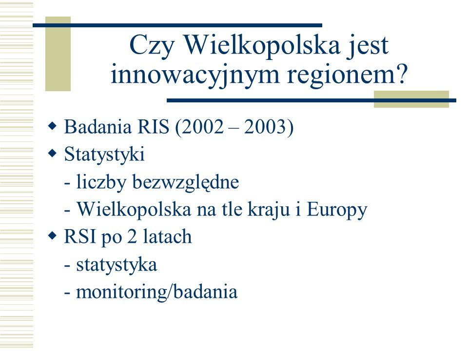 Czy Wielkopolska jest innowacyjnym regionem? Badania RIS (2002 – 2003) Statystyki - liczby bezwzględne - Wielkopolska na tle kraju i Europy RSI po 2 l