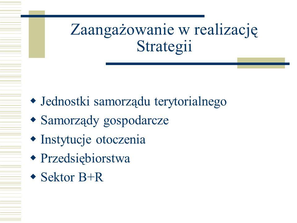 Zaangażowanie w realizację Strategii Jednostki samorządu terytorialnego Samorządy gospodarcze Instytucje otoczenia Przedsiębiorstwa Sektor B+R