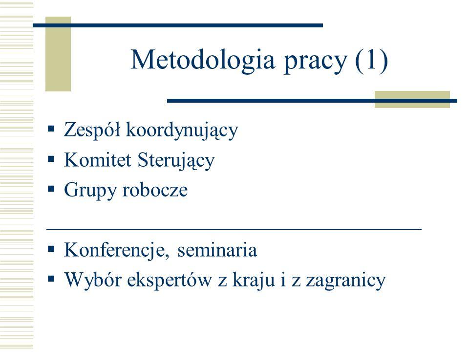 Metodologia pracy (1) Zespół koordynujący Komitet Sterujący Grupy robocze Konferencje, seminaria Wybór ekspertów z kraju i z zagranicy