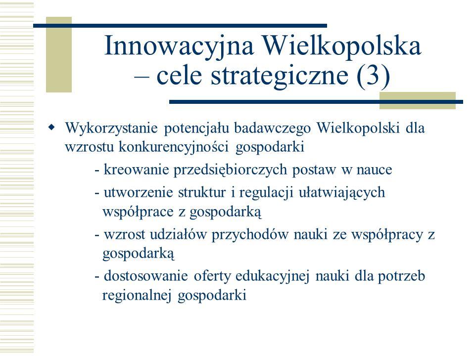 Innowacyjna Wielkopolska – cele strategiczne (4) Budowa nowoczesnej infrastruktury innowacyjnej - rozwój instytucji otoczenia biznesu - poprawa jakości usług oraz ich dostosowanie do potrzeb przedsiębiorstw - poprawa struktury i ułatwienie dostępu do usług - rozwój instrumentów finansowania innowacji