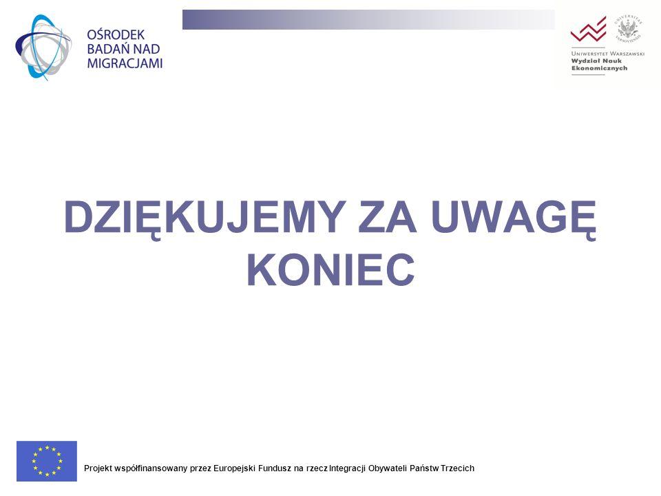 DZIĘKUJEMY ZA UWAGĘ KONIEC Projekt współfinansowany przez Europejski Fundusz na rzecz Integracji Obywateli Państw Trzecich